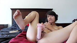 Gorgeous Asian stunner anal invasion blasting