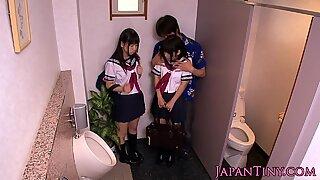 Jap schoolgirls fingered an fucked in toilet