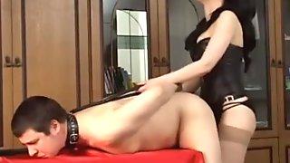 Hot Russian Mistress Dominates Man Slave's Asshole