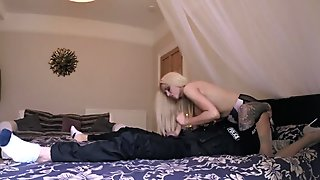 Blonde Barbie anal fucked by fake cop in her bedroom