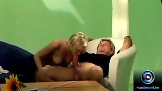 Erotic blonde Dora Venter fucks a crew at the set