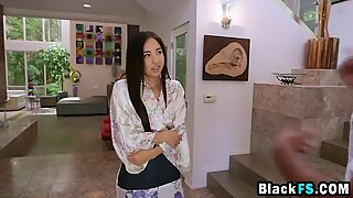 Two Oriental beauty girlfriends sexual stimulation on big black cock friend - Black Beauty