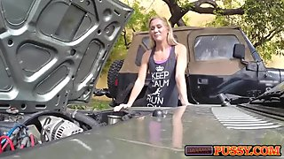 Hot blonde trying to pawn car