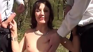 Eloise gangbanged in a forest