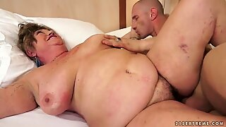 Old fat hairy woman is getting banged hard