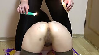 anal domination with candles!