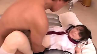 Japanese schoolgirl uniform on the girl he fucks passionately