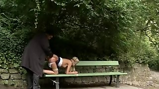 busty ass blonde has a fuck during the bdsm session