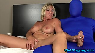 Bigboob gilf strokes cock and plays with toy