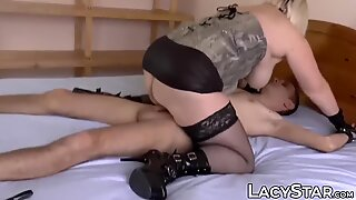 Busty GILF domina Lacey Starr anal fucked and eats warm cum
