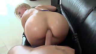 Gorgeous blonde big arse anal