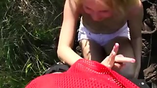 Hot blowjob in the grass