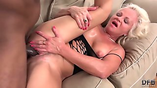 Sweet ass blonde in sporty outfit stripped and fucked by black guy