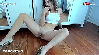 MyDirtyHobby - Amateur horny hot tattooed girl Luna masturbating and grinding her tight pussy