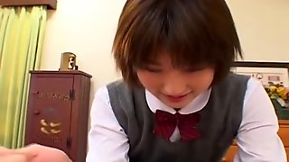 Schoolgirl slut Shinobu Kasagi sucks a cock uncensored