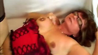 Old lady Jana glasses doggy style fuck brunette
