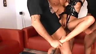 Big booty blonde has two hung boys hammering her fiery holes at once