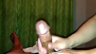 Double cumshot massage Asian Parlor handjob amateur