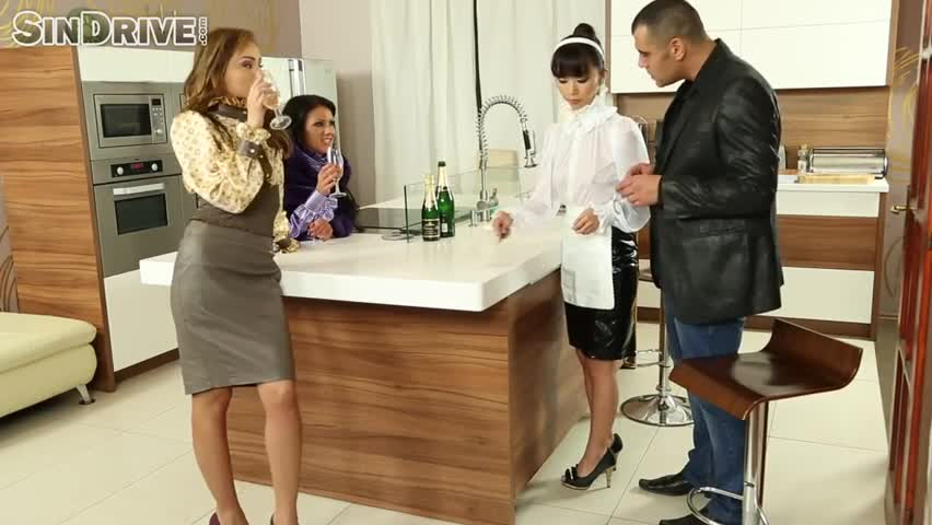 Teaching Asian Maid About High-Class Ass To Mouth Group Sex