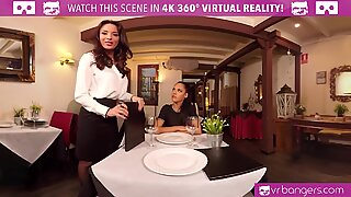 VR PORN - Public Sex with Two Babes in Caffe  - Small Kate
