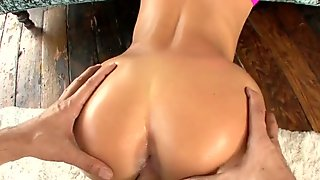 Oiled porn star blonde riding a big boner and getting rimmed
