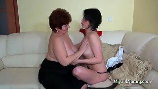 Kolmen kimppa kanssa bbw mummo