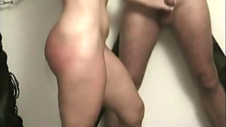 Milf slave got spanked on her ass and got her pussy played by master while she jerksoff other slave