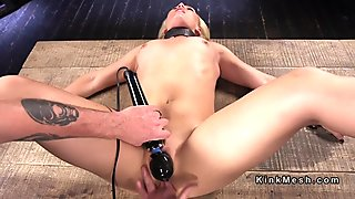 Sexy natural blonde anal fingered in device bondage