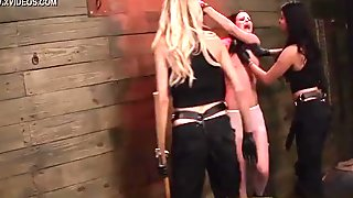 Lesbians toying and playing in fetish action